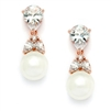Top-Selling Gold CZ Bridal Earrings with Pears and Pearl Drops <br>4490E-I-RG