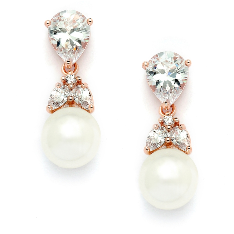 Top-Selling Rose Gold CZ Bridal Earrings with Pears and