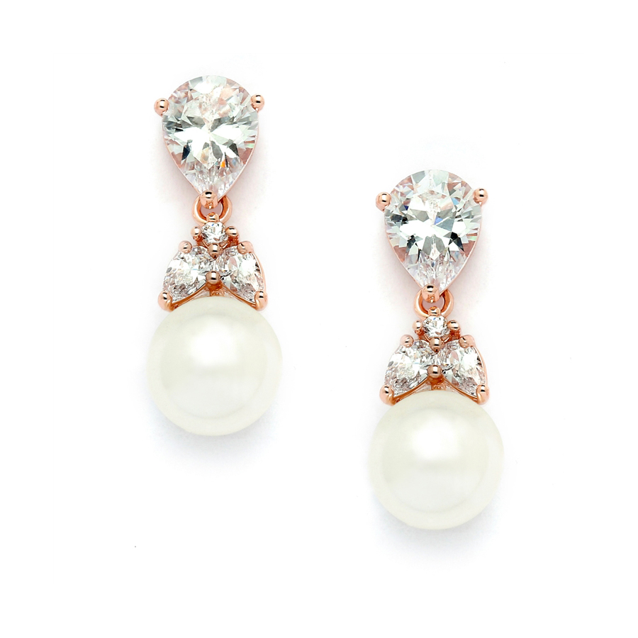 Top-Selling Rose Gold CZ Bridal Earrings with Pears and Pearl Drops <br>4490E-I-RG