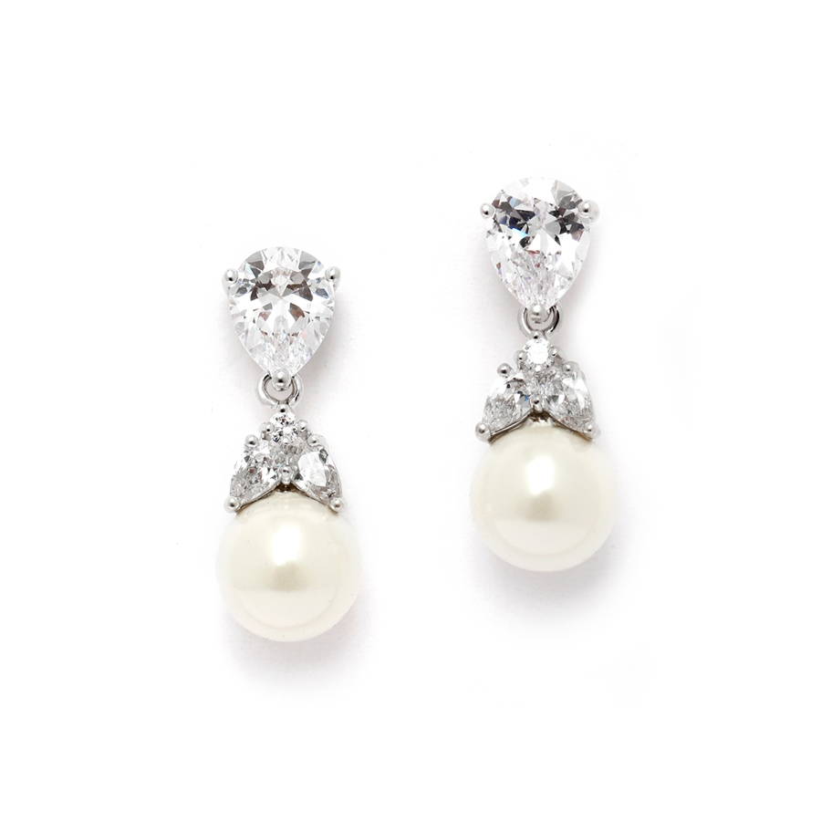 Top-Selling CZ Bridal Earrings with Mixed Pears and Pearl Drops<br>4490E-I-S