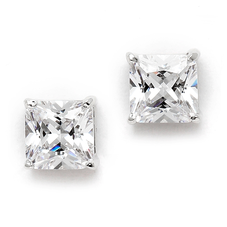 1.25 Ct. Princess Cut Cubic Zirconia Stud Earrings for Weddings or Bridesmaids<br>4492E-S