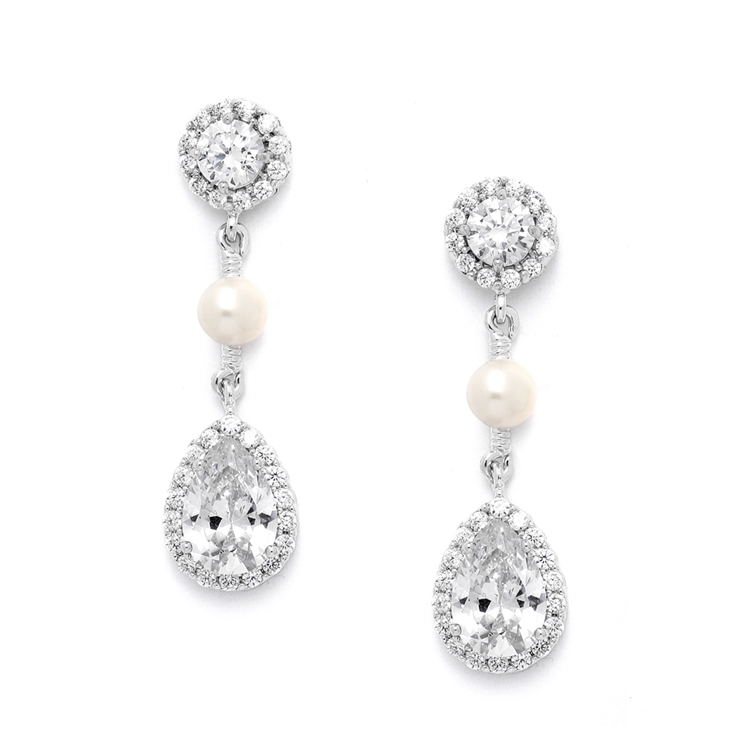 Best-Selling CZ and Freshwater Pearl Designer Bridal Earrings<br>4493E-S