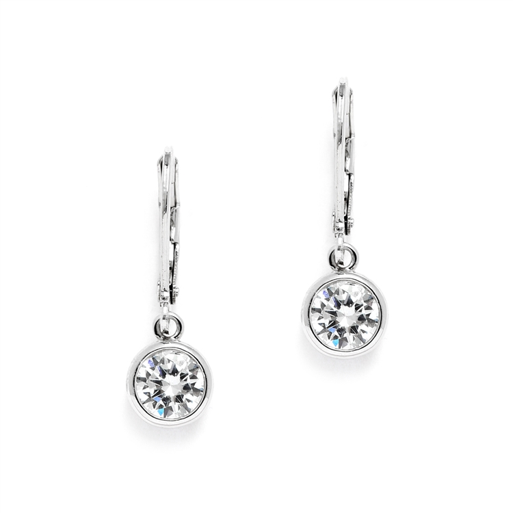 1.0 Carat Bezel Set CZ Drop Bridal Earrings<br>4501E-S