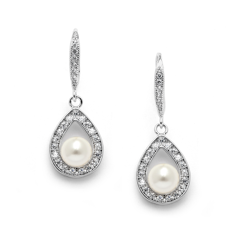 Pave Cubic Zirconia Wedding Earrings with Framed Pearl<br>4502E-I-S