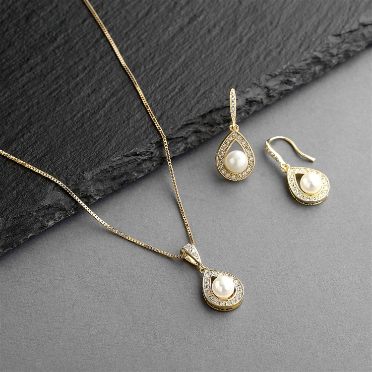 14K Gold Necklace & Earrings Set with CZ Framed Pearl<br>4502S-I-G