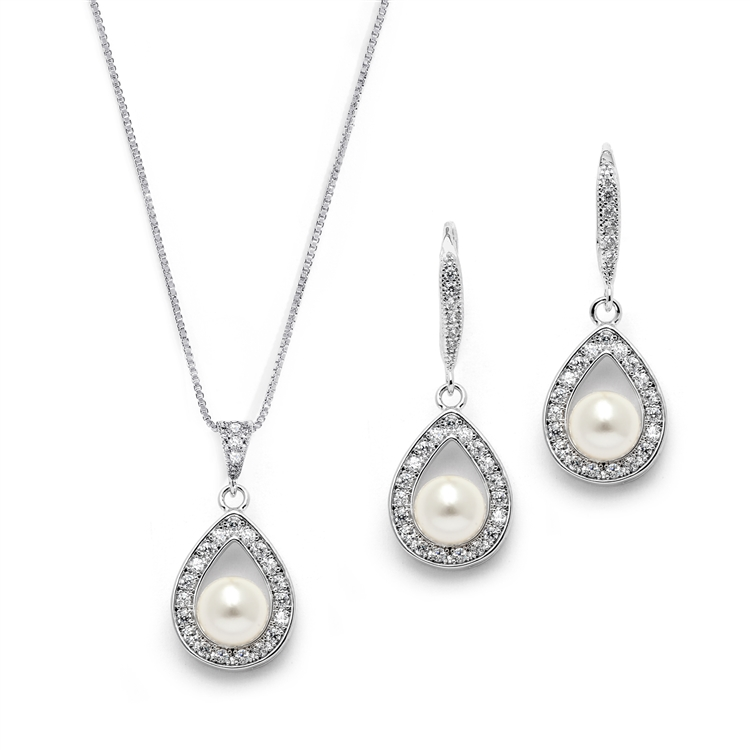 Silver Rhodium Necklace & Earrings Set with CZ Framed Pearl<br>4502S-I-S