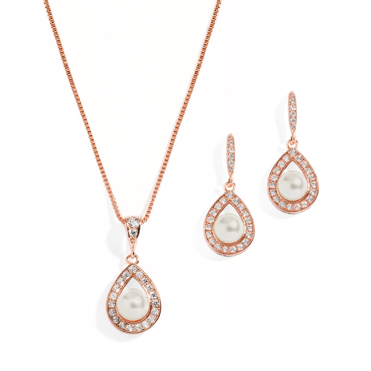 Rose Gold Necklace & Earrings Set with CZ Framed Pearl<br>4502S-IV-RG