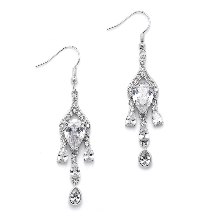 Brilliant CZ Pear Chandelier Earrrings with Bezel Set Teardrops<br>4503E-S