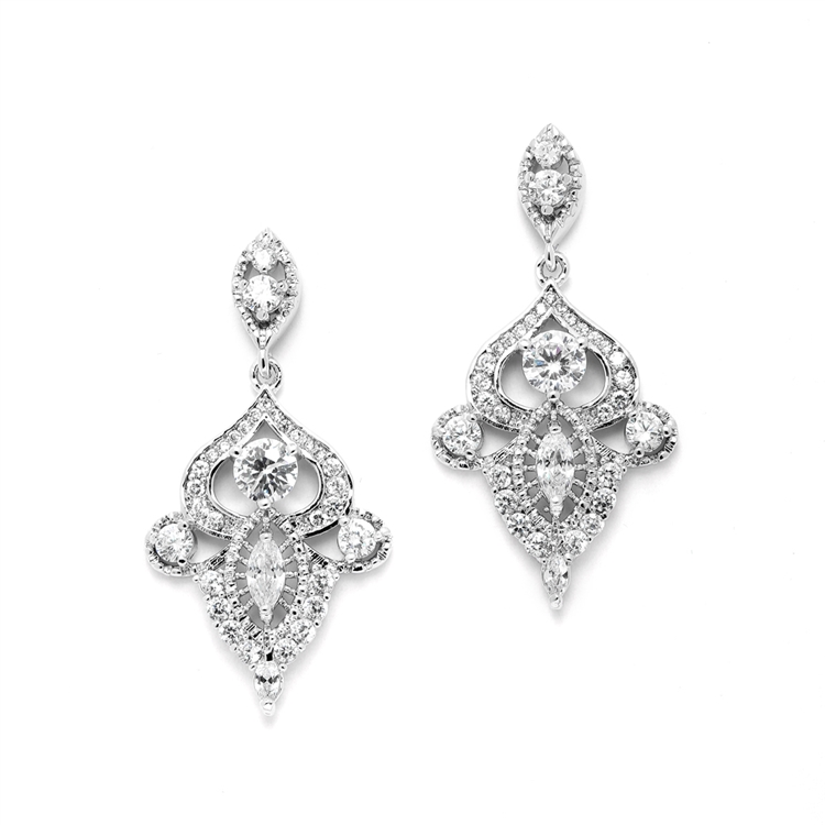 Intricate Art Deco CZ Dangle Bridal Statement Earrings<br>4504E-S