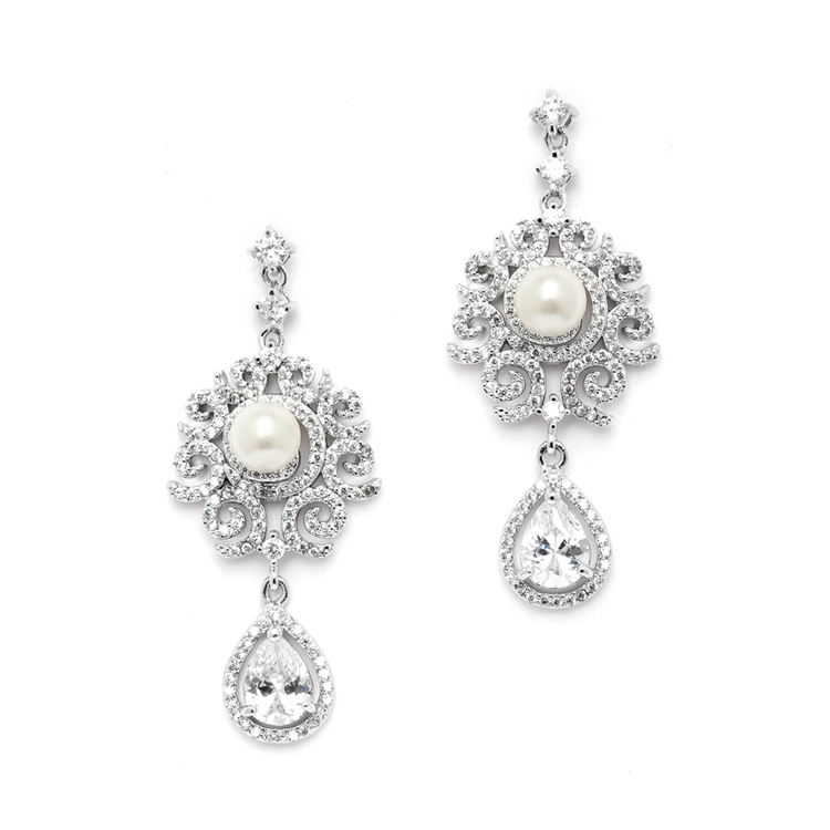 Luxurious Micro Pave CZ Wedding Earrings with Scrolls and Ivory Pearls<br>4506E-I-S