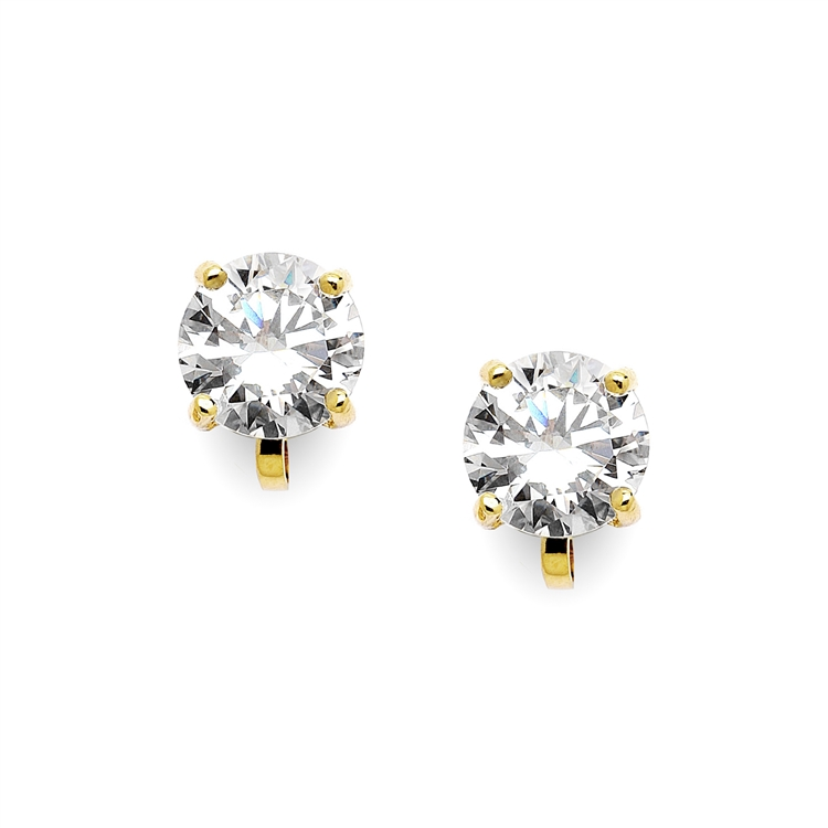 Gold Clip-On Earrings with 3 Carat 9.5mm CZ Solitaire<br>4512EC-G