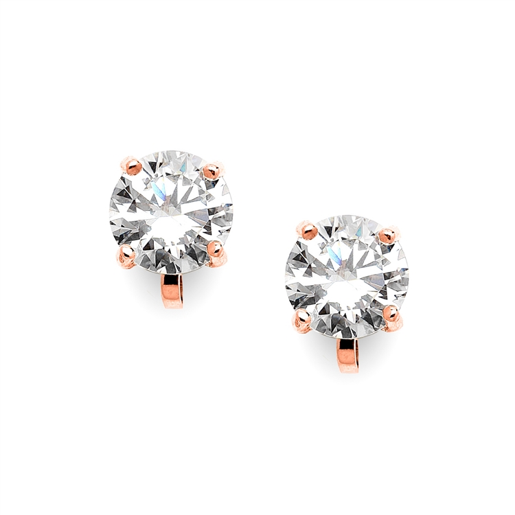 Rose Gold Clip-On Earrings with 3 Carat 9.5mm CZ Solitaire<br>4512EC-RG