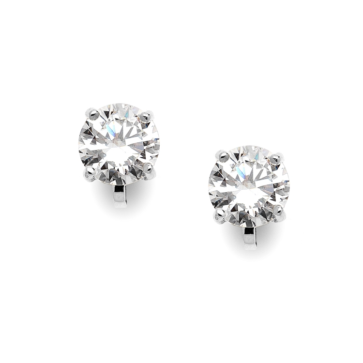Platinum Clip-On Earrings with 3 Carat 9.5mm CZ Solitaire<br>4512EC-S