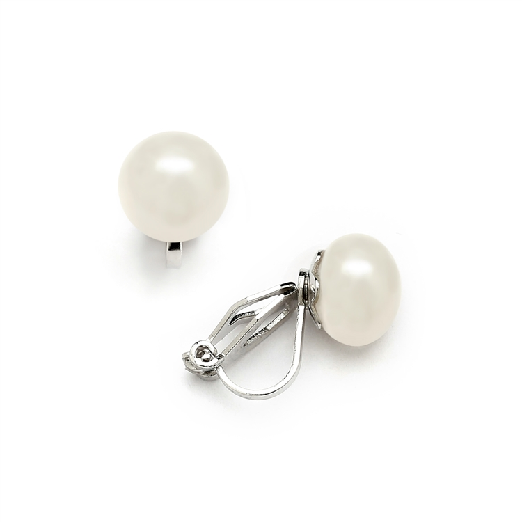 Clip-On Ivory Pearl Stud Earrings - Glass Based Shell Pearls with Freshwater Finish (9mm)<br>4514EC-I