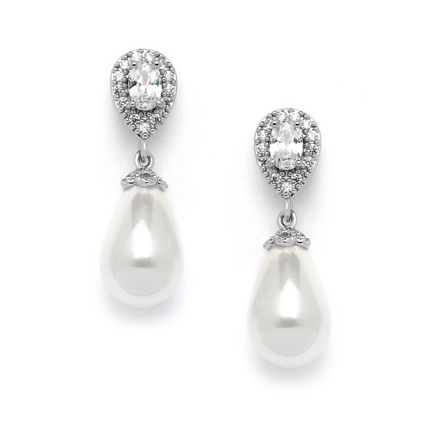 CZ Pear Bridal Earrings with Bold Soft Cream Pearl Drops<br>4516E-I-S