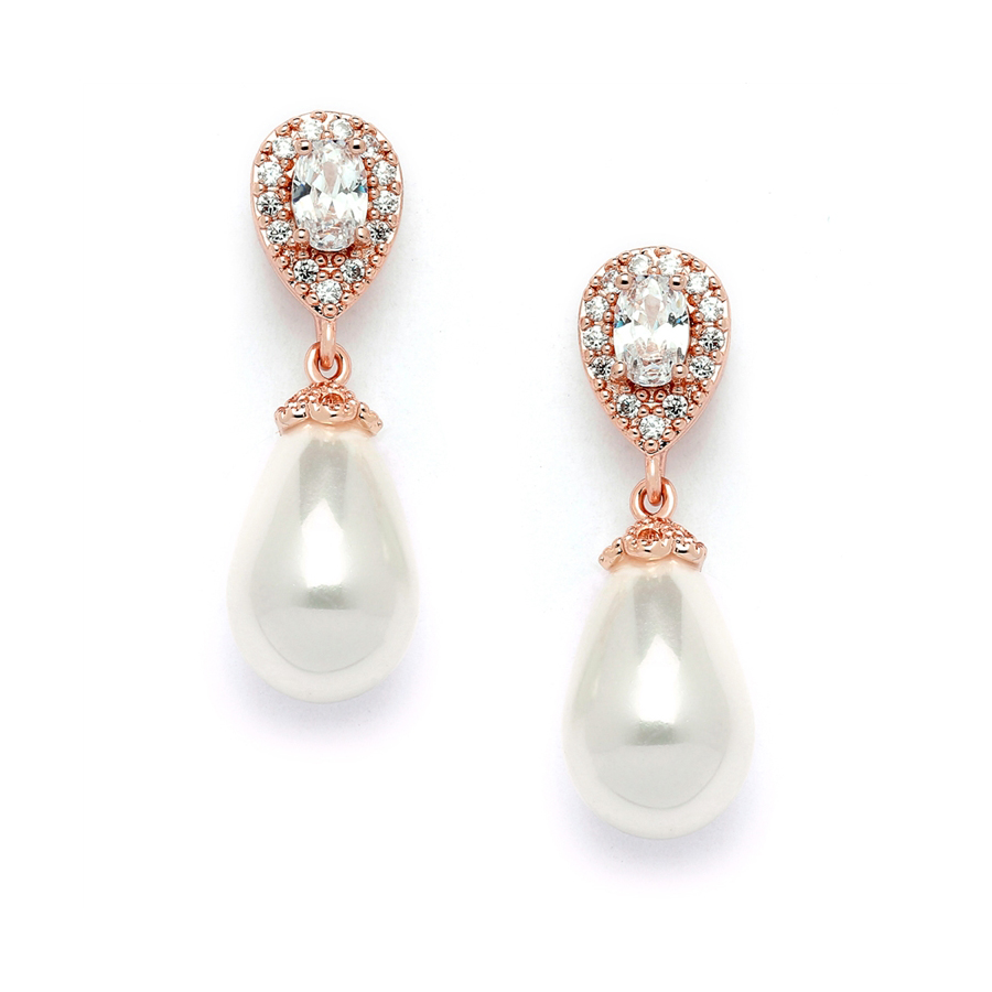 CZ Pear Bridal Earrings with Bold Soft Cream Pearl Drops<br>4516EC-I-RG