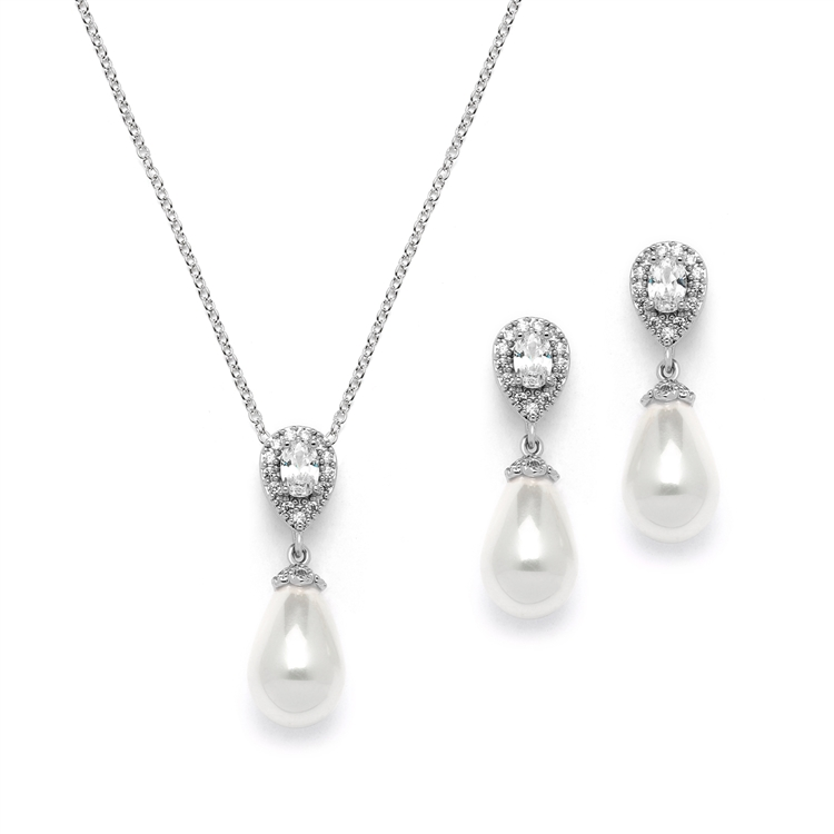 Cubic Zirconia and Ivory Teardrop Pearl Wedding Jewelry Set<br>4516S-IV-S