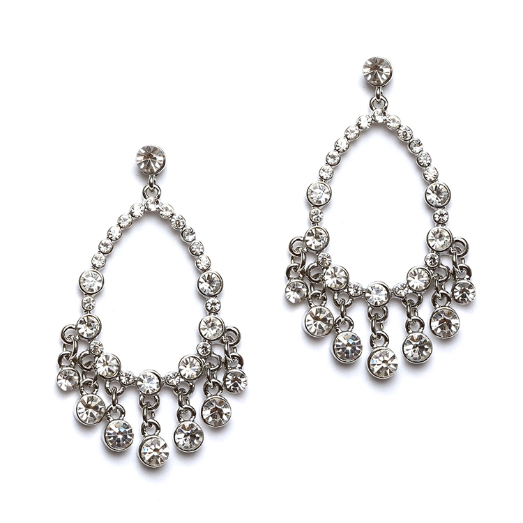 Open Crystal Chandelier Earrings with Round Drops<br>4520E-CR-S