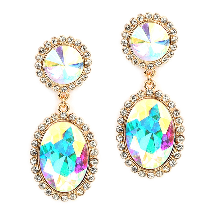 Bold Iridescent Oval Drop Earrings with Rivoli Studs<br>4521E-AB-G