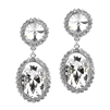 Bold Oval Drop Earrings with Rivoli Studs<br>4521E-CR-S
