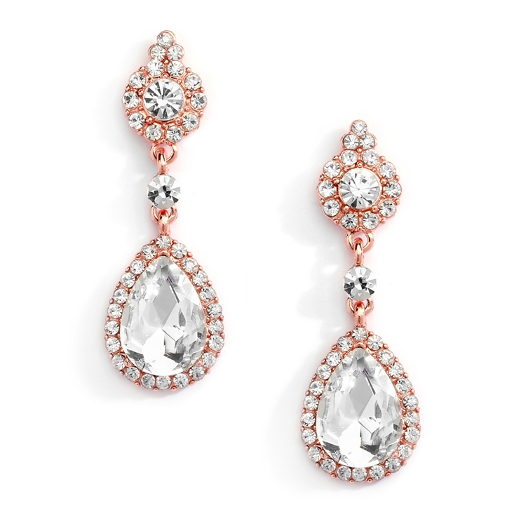 Wholesale Rose Gold and Crystal Earrings with Teardrop Dangles<br>4532E-RG-CR