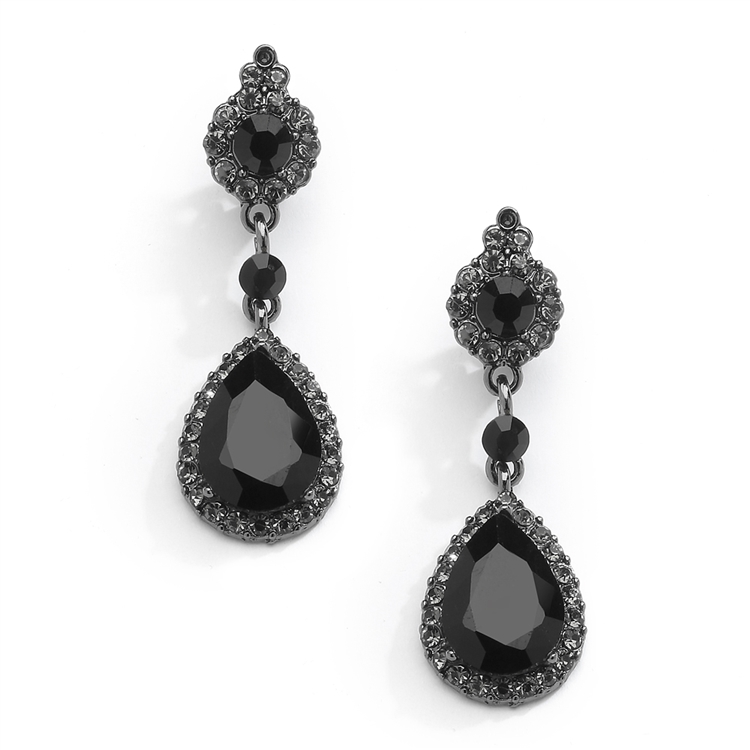 Jet Black Crystal Clip-On Earrings with Teardrop Dangles in Hematite Plating<br>4532EC-BK