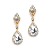 Wholesale Gold and Crystal Clip-on Earrings with Teardrop Dangles<br>4532EC-G