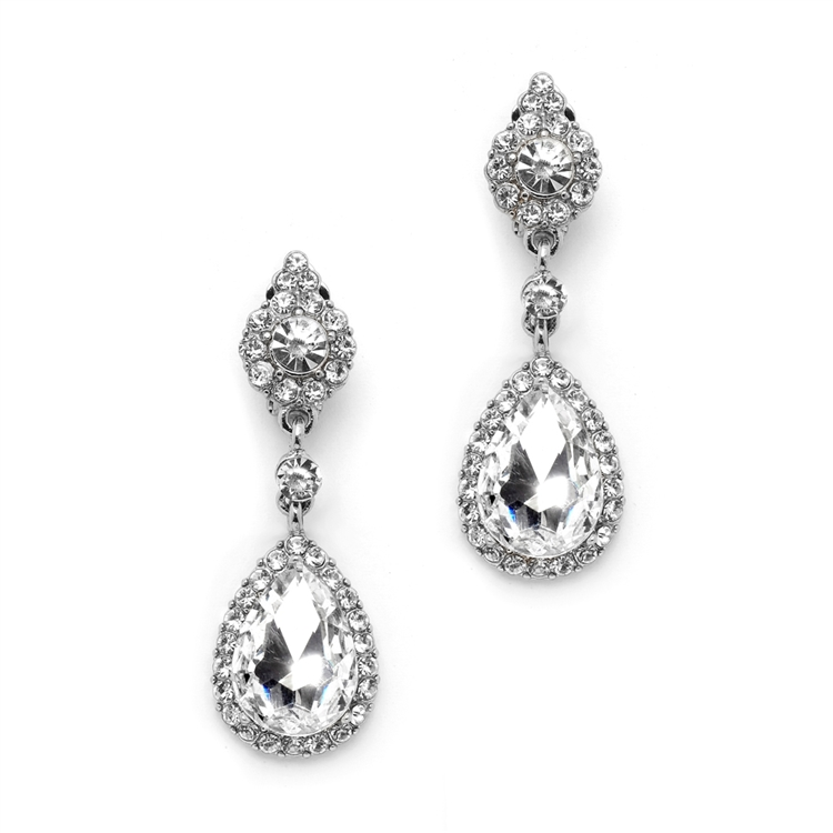 Wholesale Crystal Clip-on Earrings with Teardrop Dangles<br>4532EC-S
