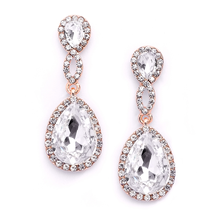 Top-Selling Rose Gold Crystal Teardrop Earrings with Braided Top<br>4547E-CR-RG
