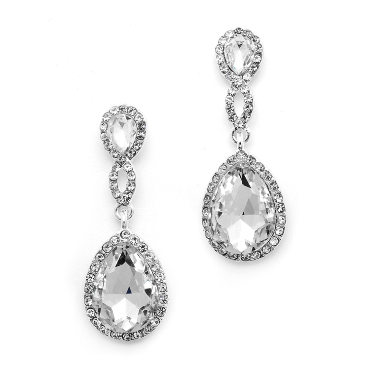 Top-Selling Crystal Teardrop Earrings with Braided Top<br>4547E-CR-S