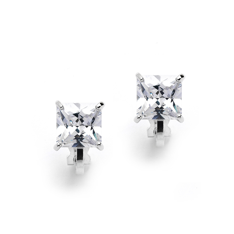Clip-On Earrings with 2 Carat 8mm Princess Cut CZ Solitaire<br>4549EC-S