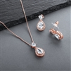 Brilliant CZ Halo Pear Shaped Rose Gold Necklace and Earrings Set<br>4550S-RG