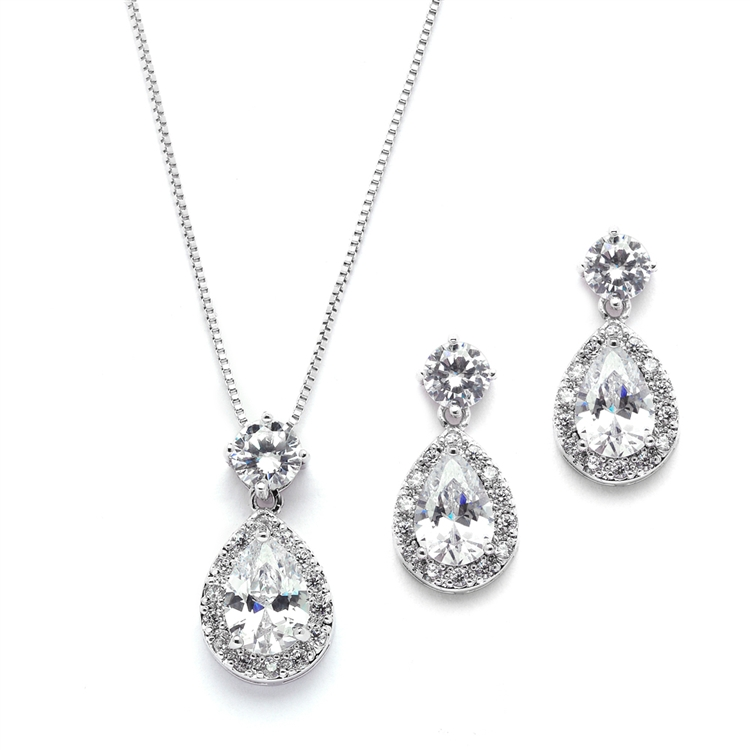 Brilliant CZ Halo Pear Shaped Necklace and Earrings Set<br>4550S-S