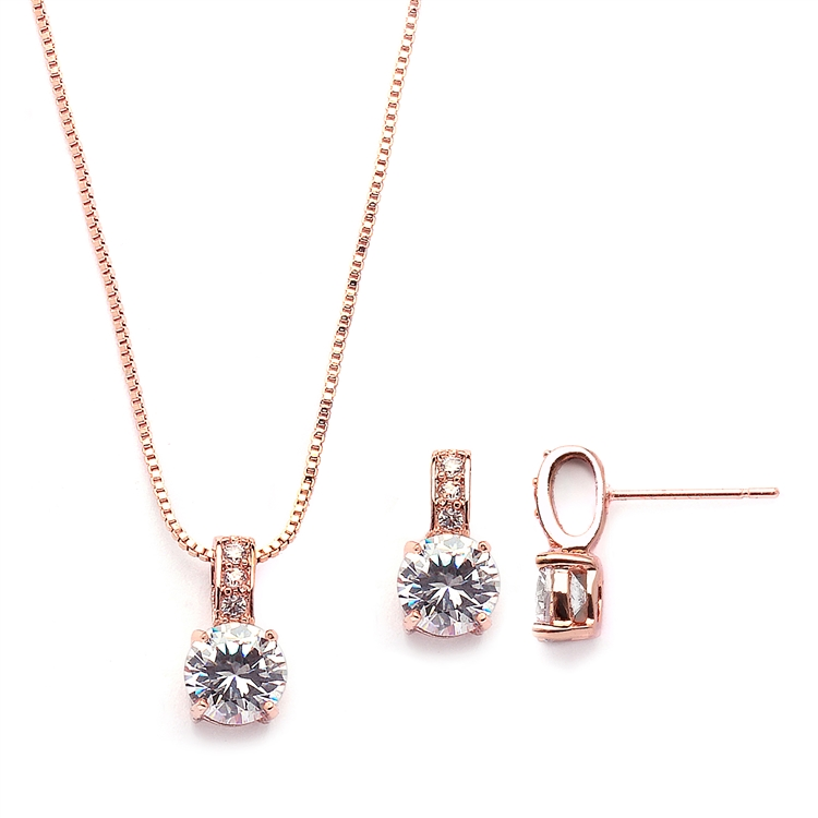 Delicate CZ Round-Cut Rose Gold Necklace and Earrings Set with Pave Top<br>4551S-RG
