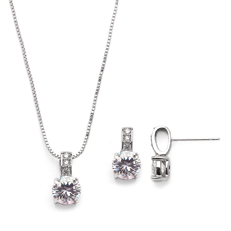 Delicate CZ Round-Cut Necklace and Earrings Set with Pave Top<br>4551S-S