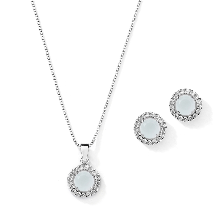 Cubic Zirconia Round Shape Halo Necklace and Stud Earrings Set - Blue Opal<br>4552S-BL