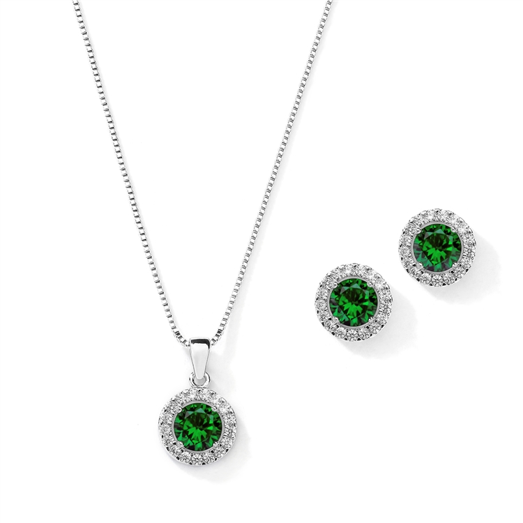 Cubic Zirconia Round Shape Halo Necklace and Stud Earrings Set - Emerald<br>4552S-EM