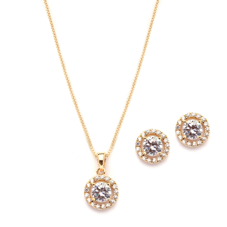 Gleaming Cubic Zirconia Round Shape Halo Gold Necklace and Stud Earrings Set<br>4552S-G