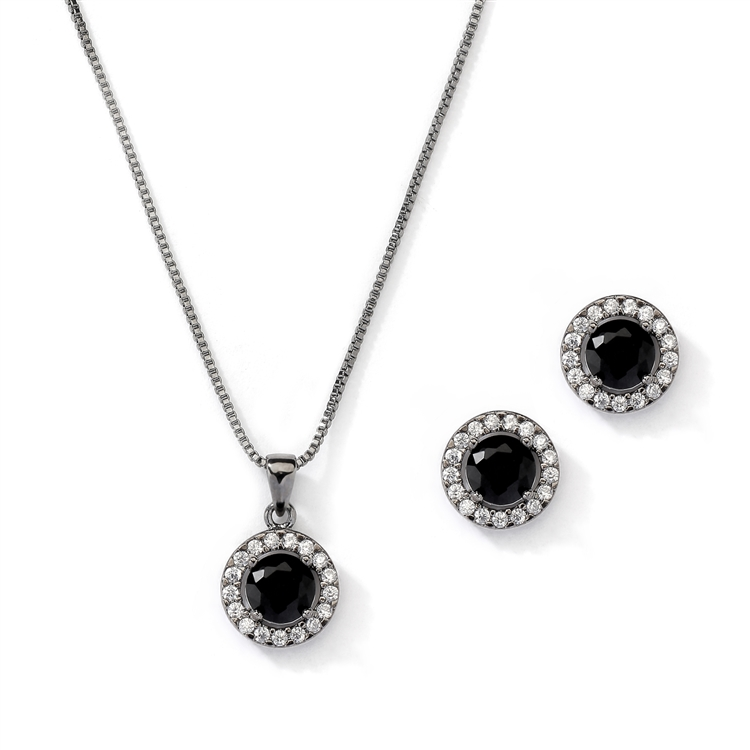Gleaming Cubic Zirconia Round Shape Halo Necklace and Stud Earrings Set in Black Hematite<br>4552S-HM