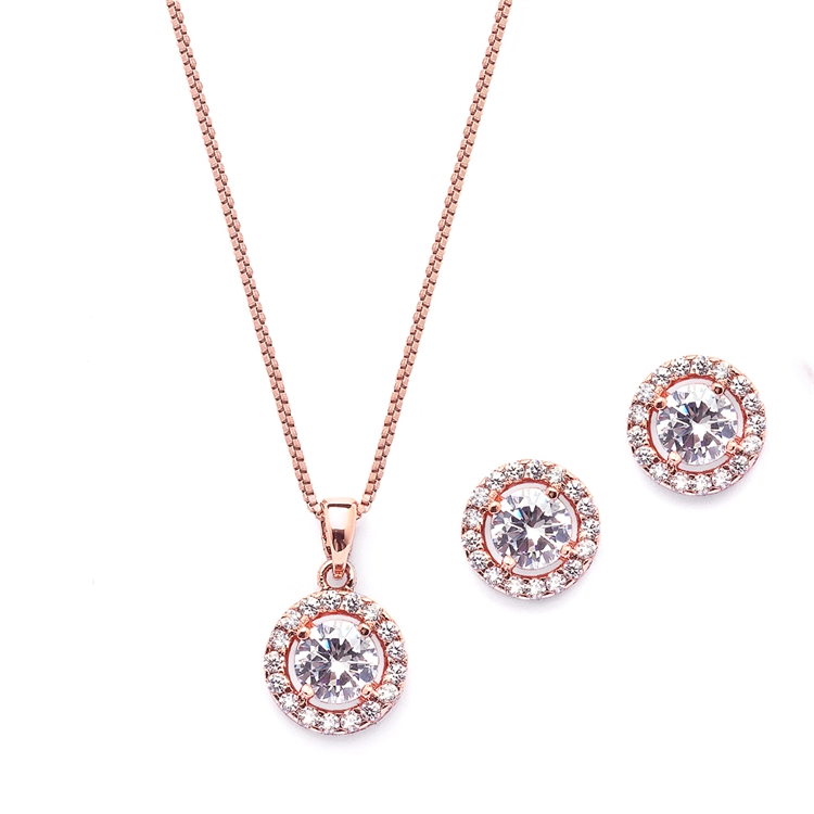 Gleaming Round Halo Cubic Zirconia Rose Gold Necklace and Stud Earrings Set<br>4552S-RG