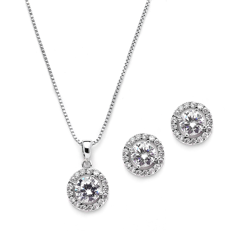 Gleaming Cubic Zirconia Round Shape Halo Necklace and Stud Earrings Set<br>4552S-S