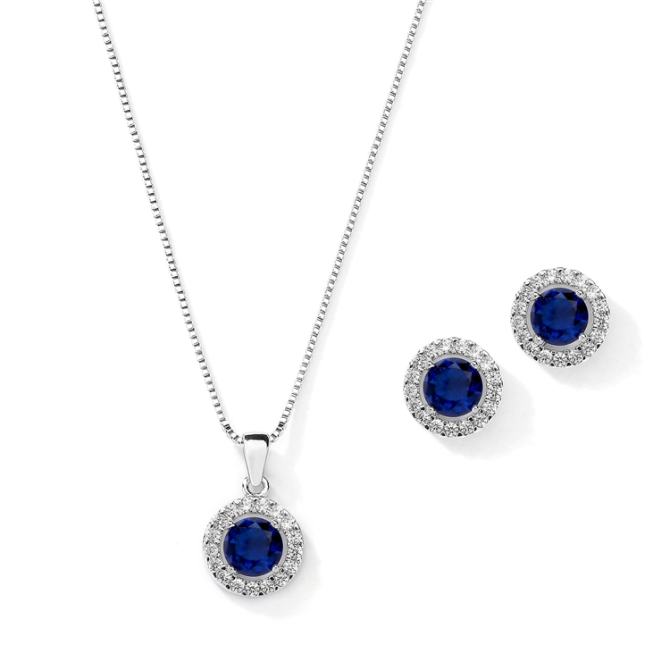 Cubic Zirconia Round Shape Halo Necklace and Stud Earrings Set - Sapphire<br>4552S-SA