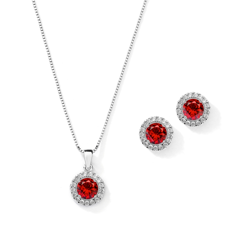 Cubic Zirconia Round Shape Halo Necklace and Stud Earrings Set - Ruby<br>4552S-SI