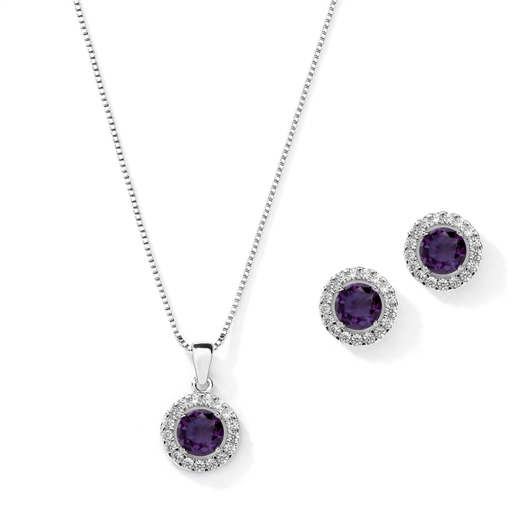 Cubic Zirconia Round Shape Halo Necklace and Stud Earrings Set - Tanzanite<br>4552S-TZ
