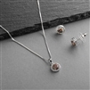 Cubic Zirconia Round Shape Halo Necklace and Stud Earrings Set - Vitrail Medium<br>4552S-VM