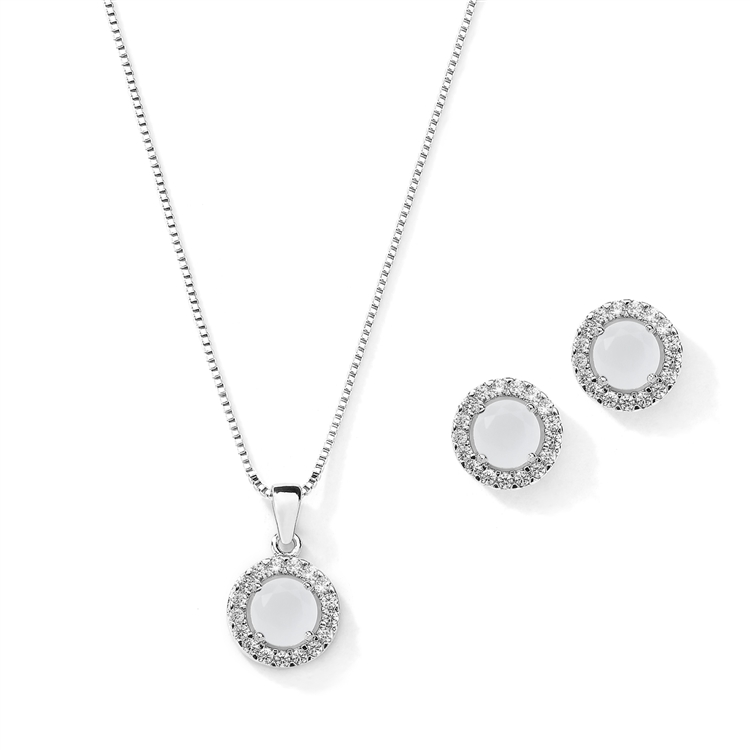 Cubic Zirconia Round Shape Halo Necklace and Stud Earrings Set - White Opal<br>4552S-WH
