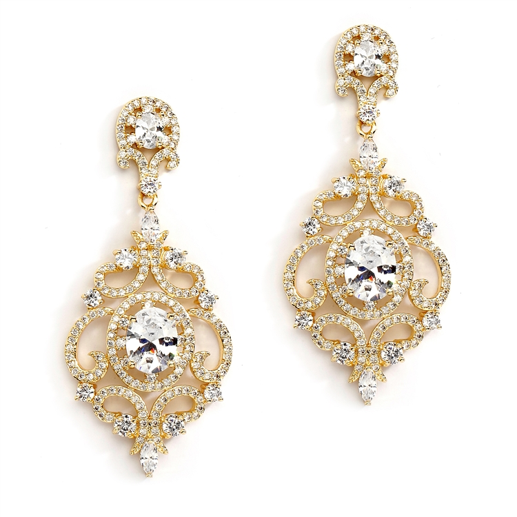 Victorian Scrolls 14K Gold Plated Cubic Zirconia Wedding Chandelier Earrings<br>4553E-G