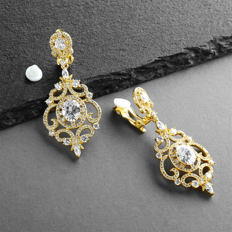 Victorian Scrolls 14K Gold Plated CZ Clip-On Wedding Chandelier Earrings<br>4553EC-G