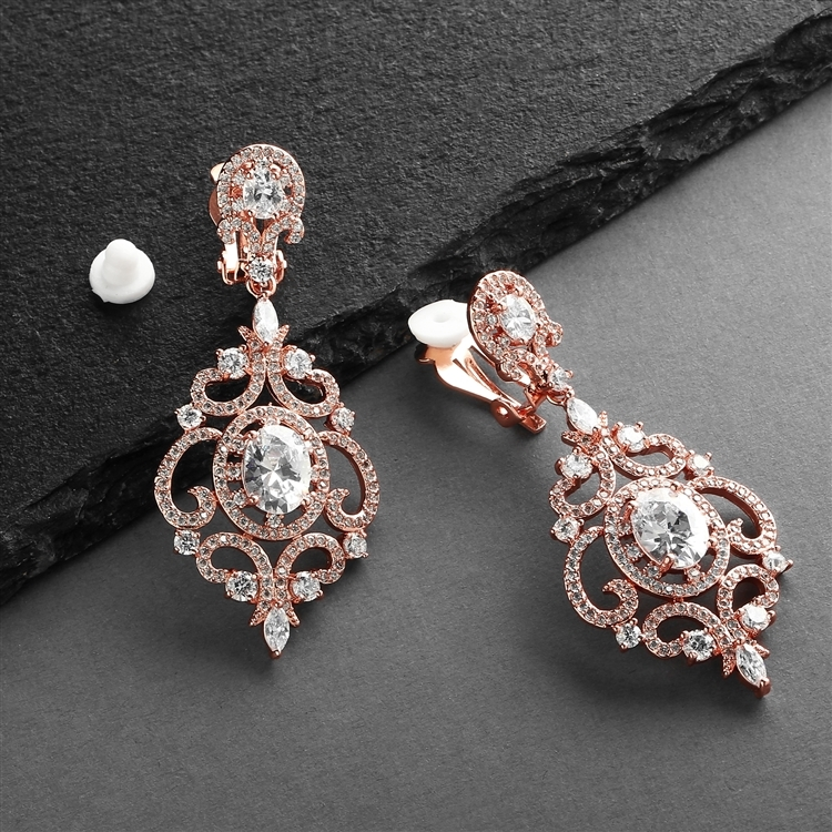 Victorian Scrolls 14K Rose Gold Plated CZ Clip-On Wedding Chandelier Earrings<br>4553EC-RG