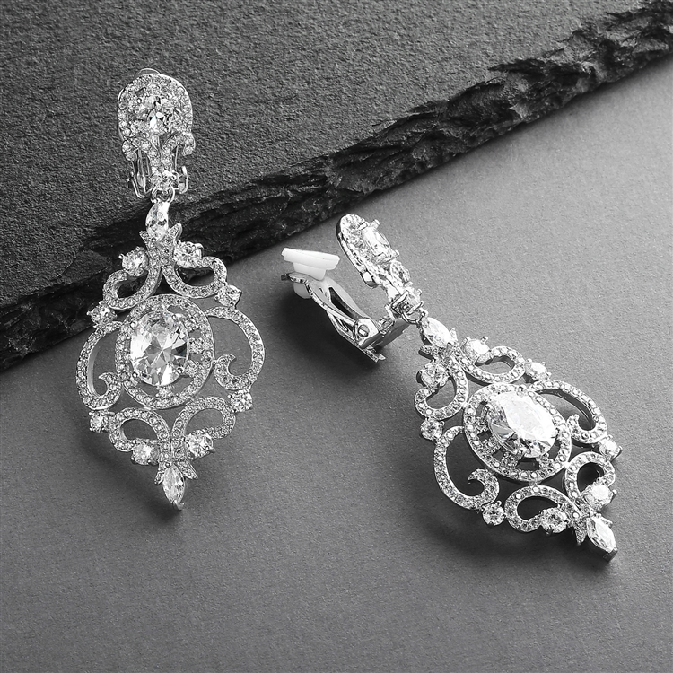 Victorian Scrolls Silver Rhodium Plated CZ Clip-On Wedding Chandelier Earrings<br>4553EC-S